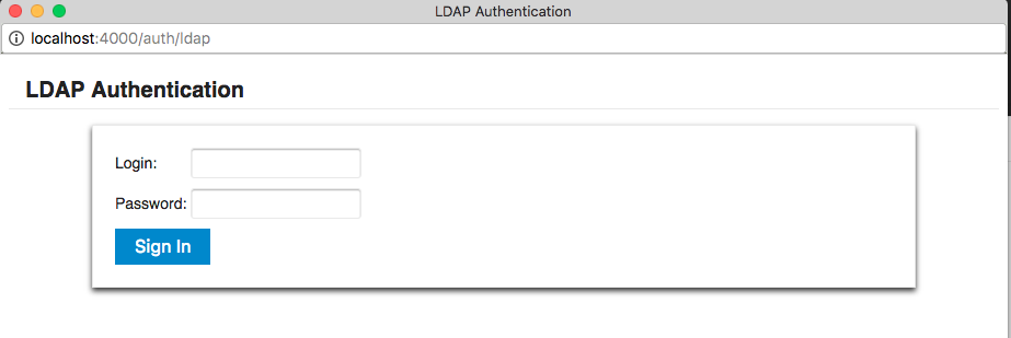LDAP Login Popup