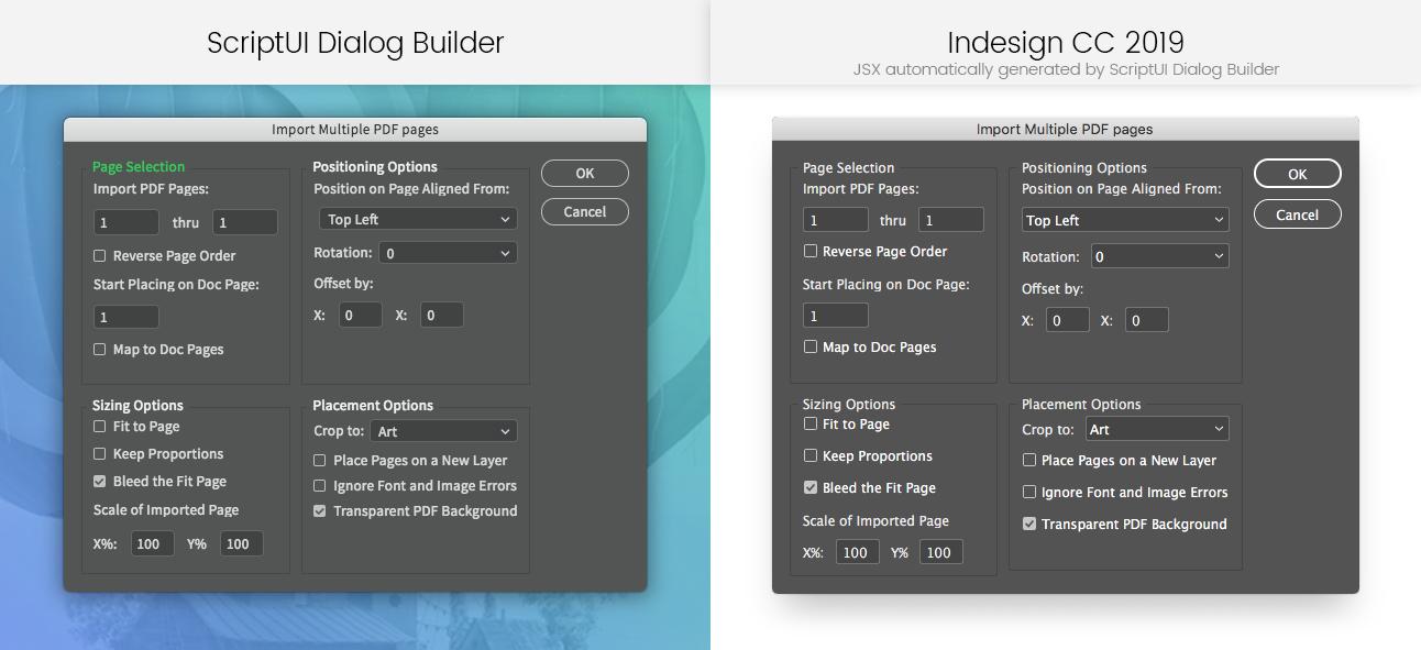 Comparison between ScriptUI Dialog Builder and Indesign CC 2019