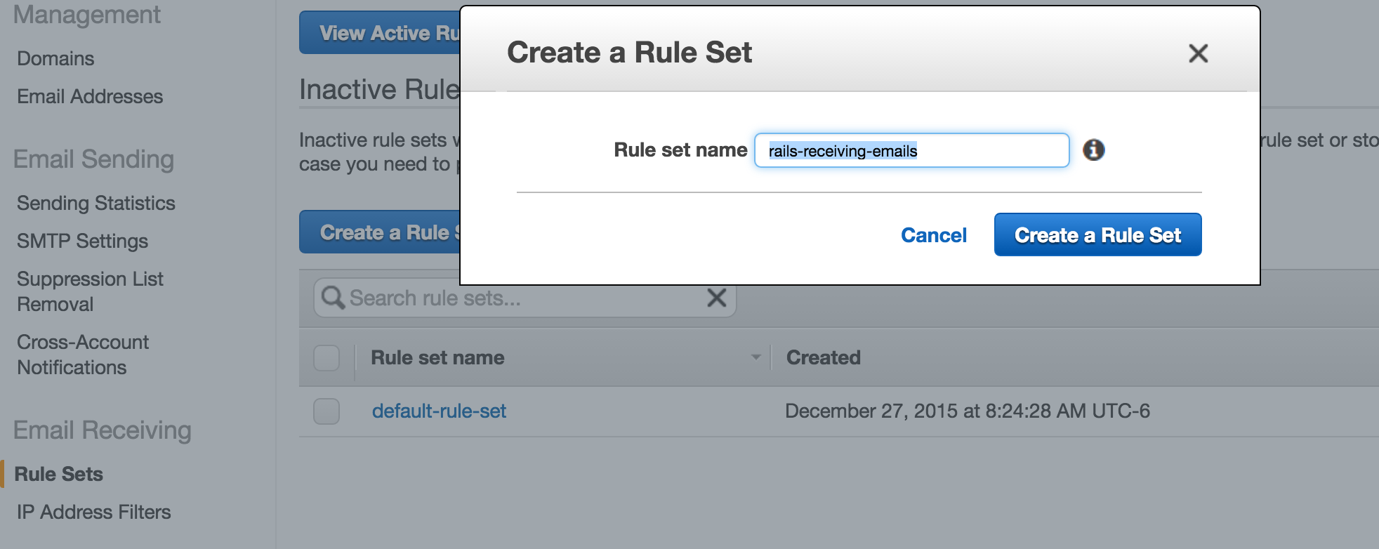 Create Rule Set