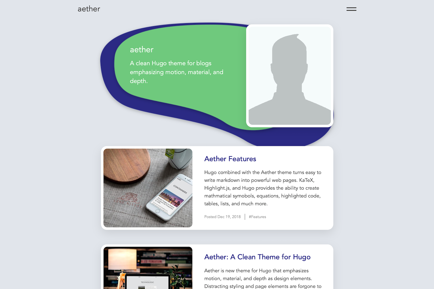 Aether Hugo theme screenshot