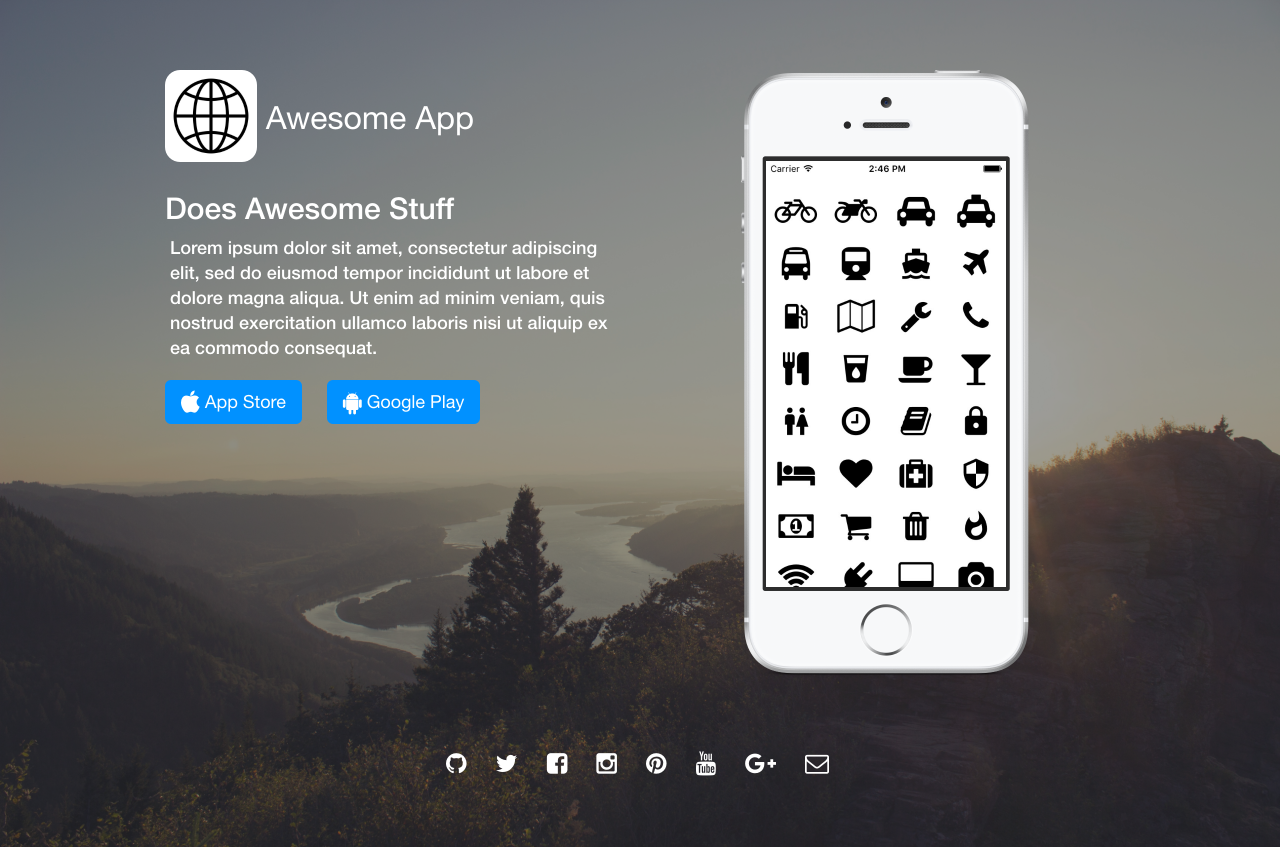 Awesome App Landing Page Theme Screenshot