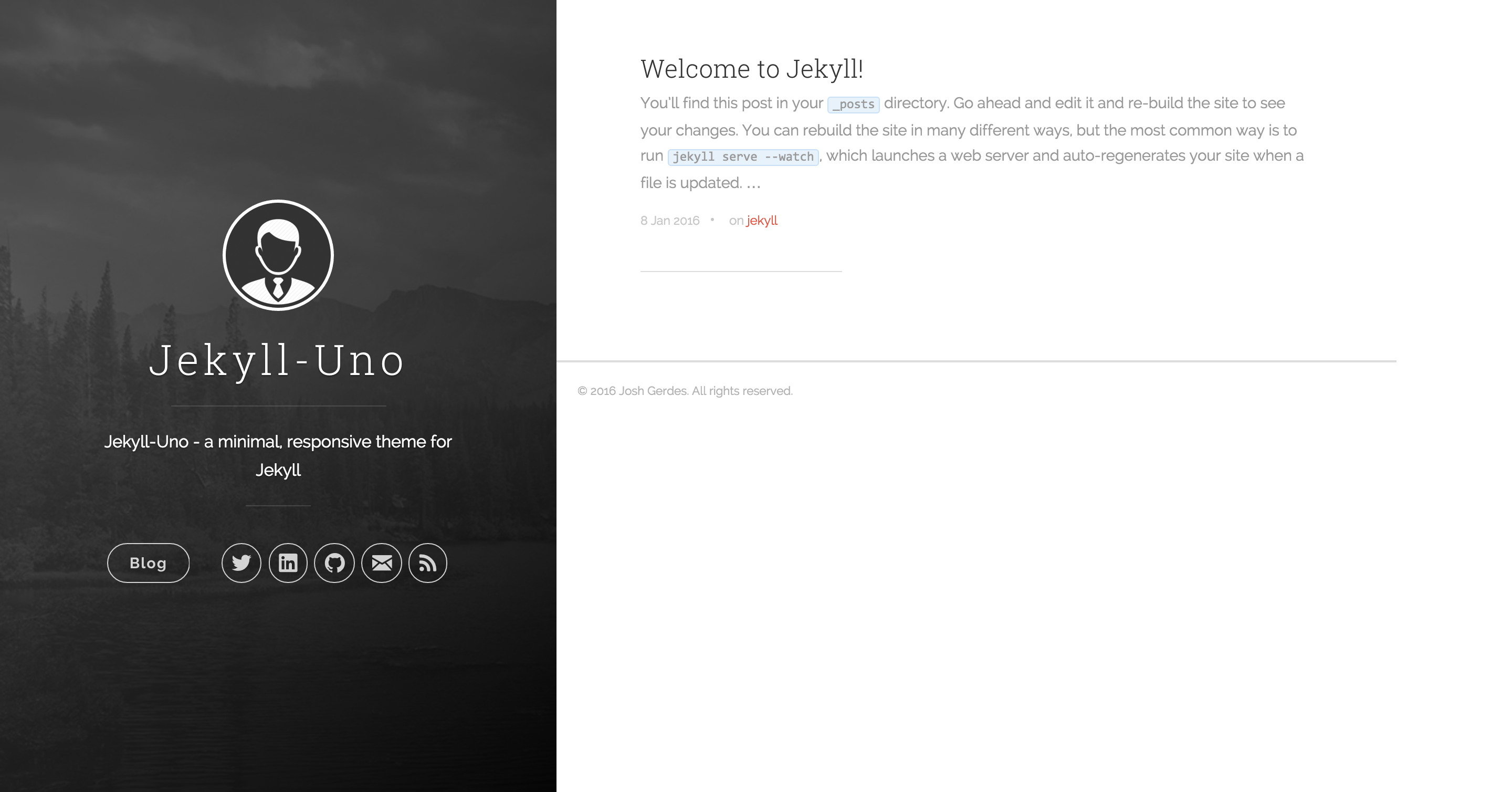 Jekyll-Uno Theme screenshot