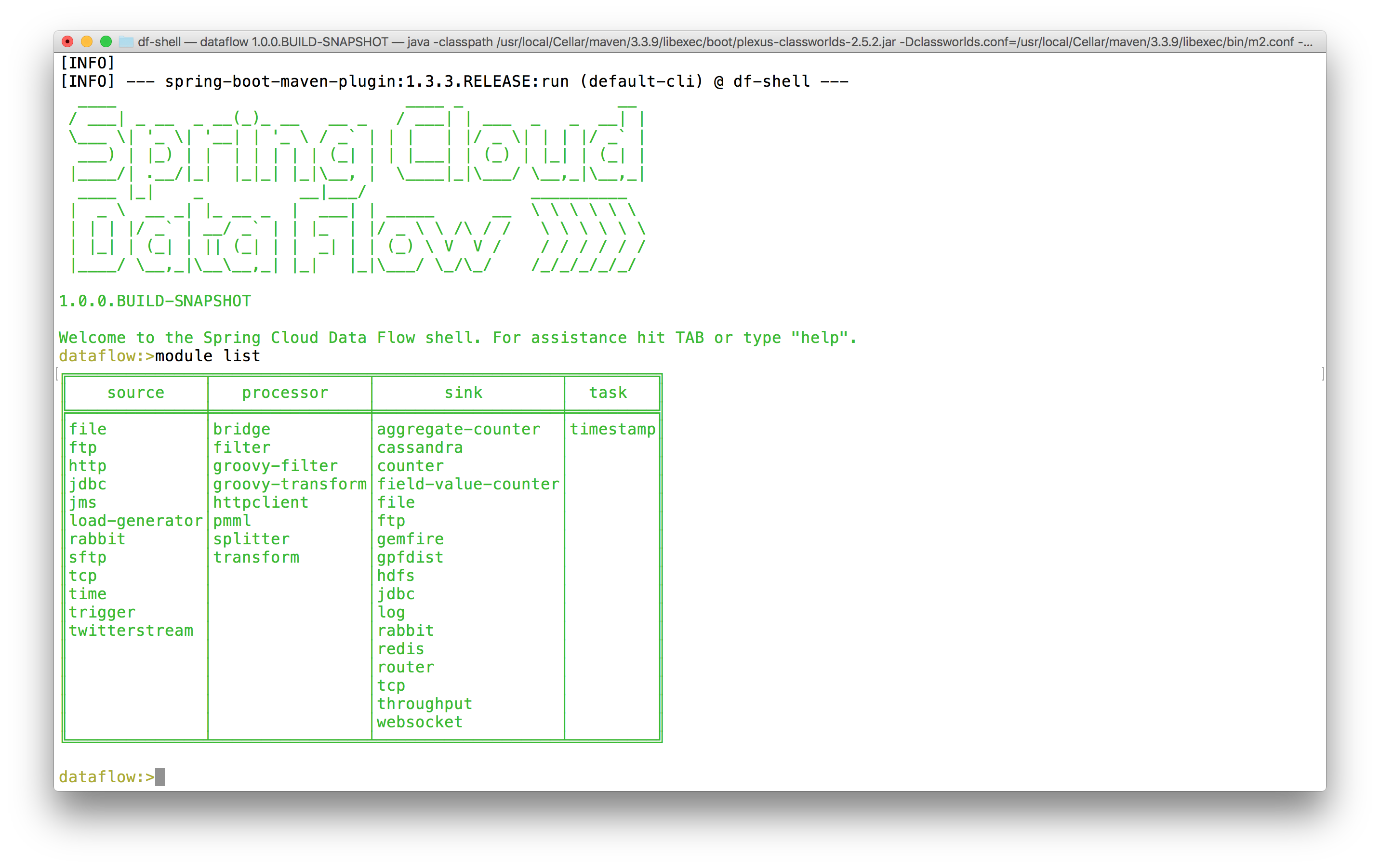 1 stream 2 applications and 3 dependencies for spring cloud data try it out by issuing the module list command you should see a table of all the inbuilt components that spring cloud data flow already knows about baditri Choice Image