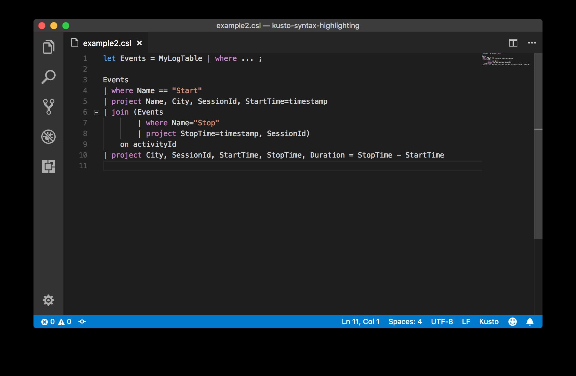 Azure Log Analytics (Kusto) language syntax