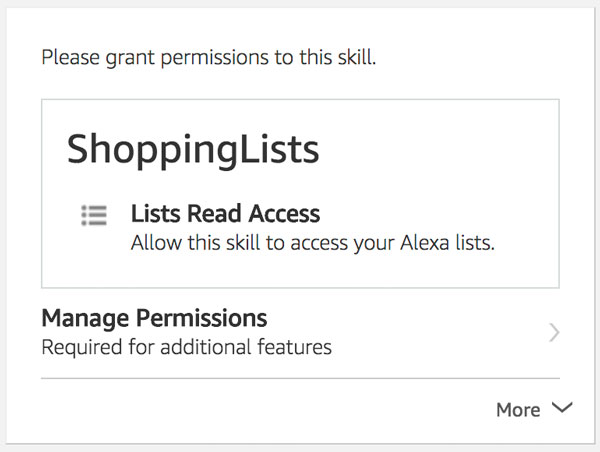 Alexa List Permission Card in the Alexa App
