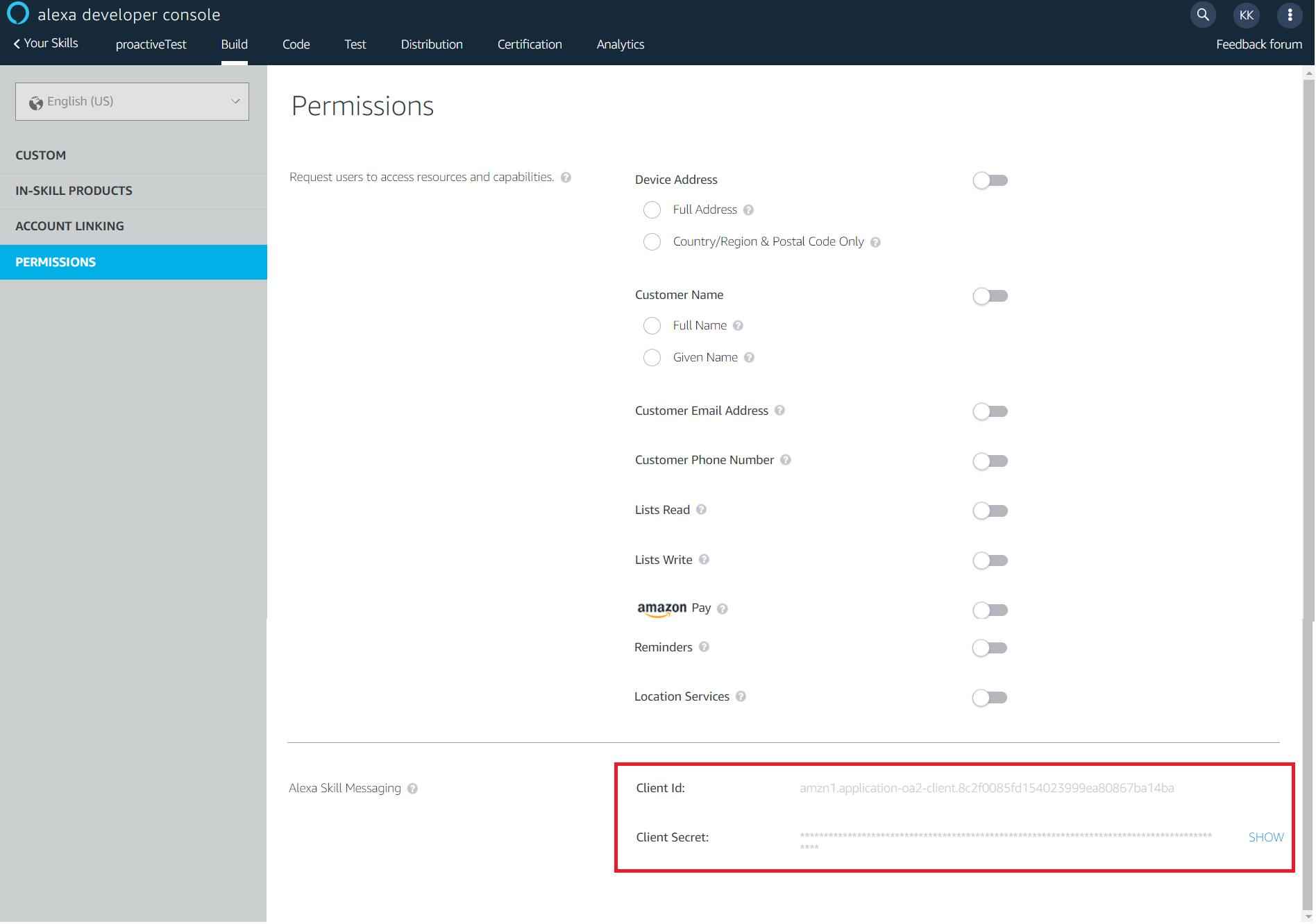 Proactive Events API Client ID and Client Secret