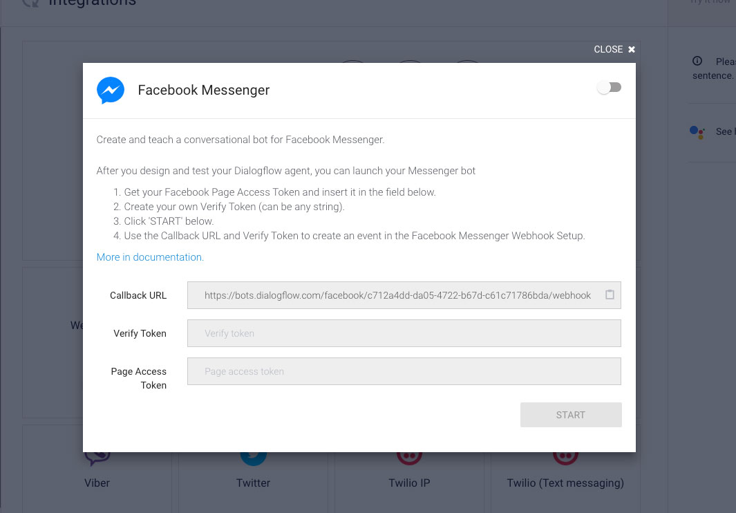 Dialogflow Integrations: Facebook Messenger