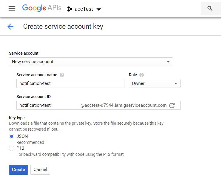Google Create Service Account