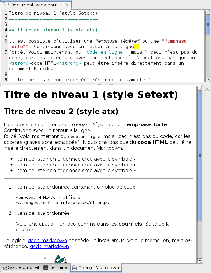 Markdown Preview in the bottom panel of gedit.