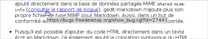 Tooltip displaying URL when the cursor passes over a link.