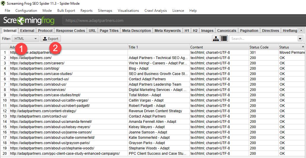 Export Internal HTML