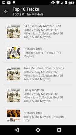 spotify_streamer artist track list activity screenshot
