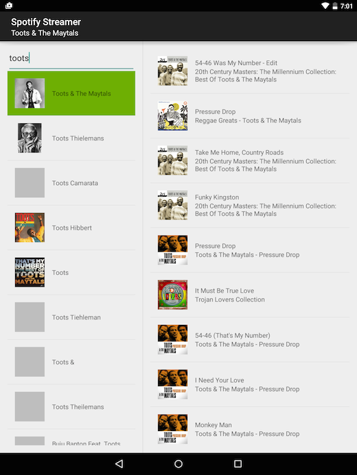 spotify_streamer tablet artist and tracks master detail flow screenshot
