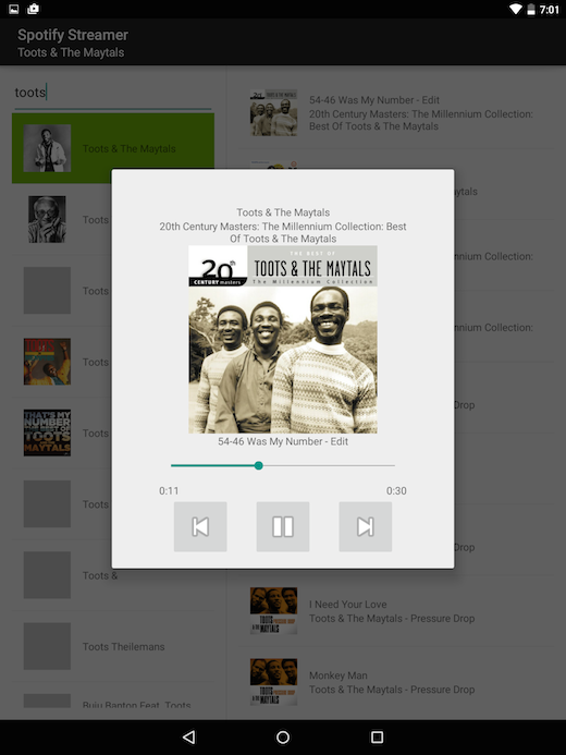 spotify_streamer tablet playback activity screenshot