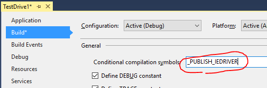 define _PUBLISH_IEDRIVER compilation symbol