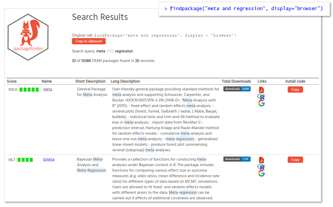 Search results in the web brwoser
