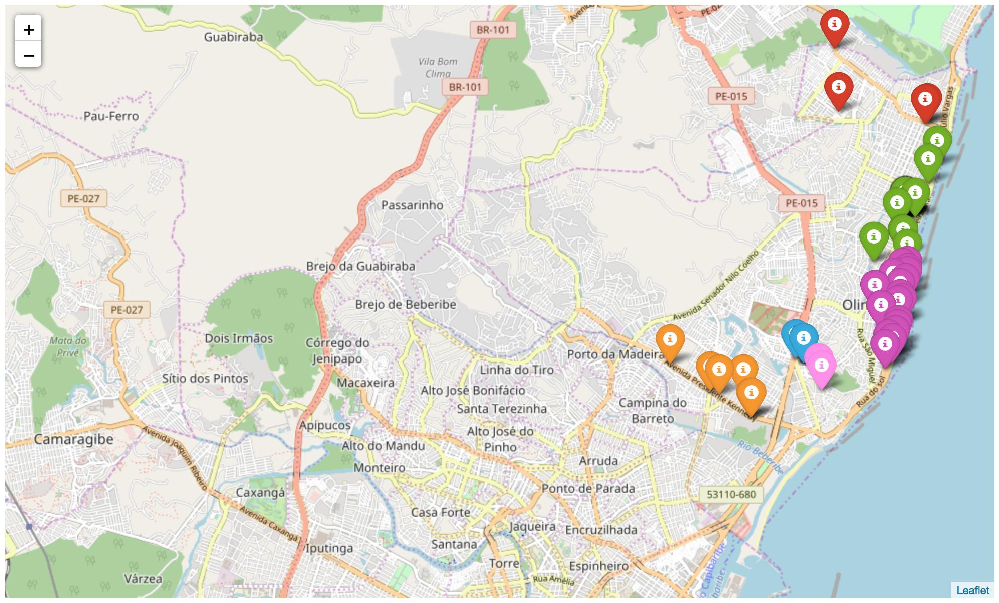 mapa de Olinda com algumas empresas e pins coloridos