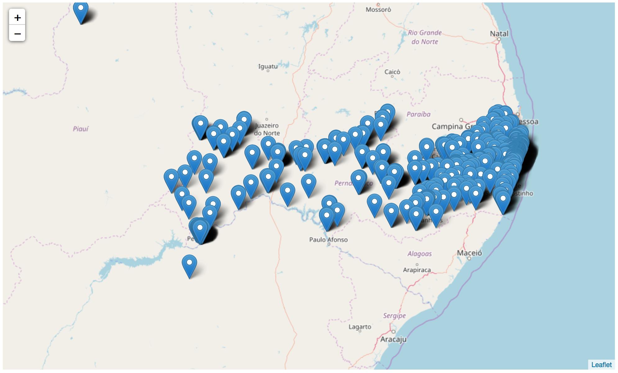 mapa de Pernambuco com todas as empresas