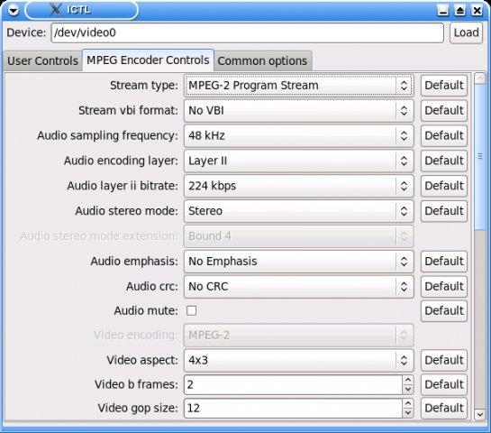MPEG Encoder Controls