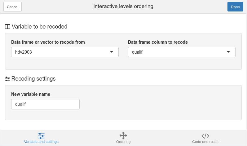 Variable and settings tab