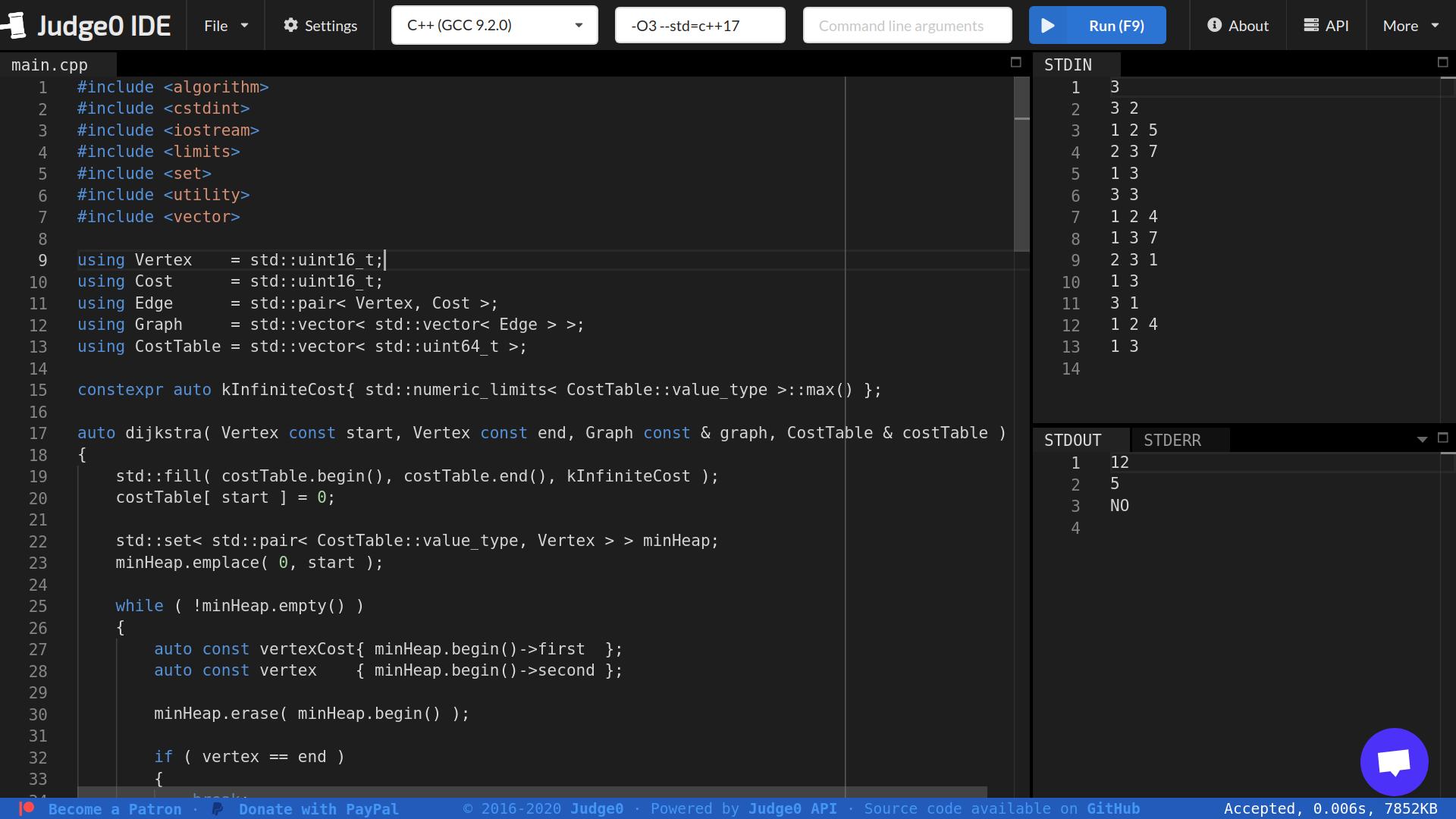 Judge0 IDE Screenshot