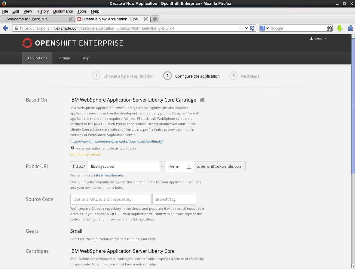 2. Select WebSphere Application Server Cartridge
