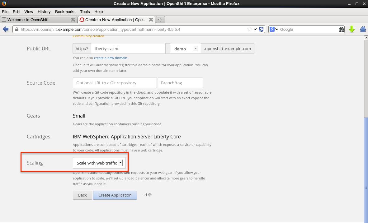 2. Select WebSphere Application Server Cartridge - Scaling