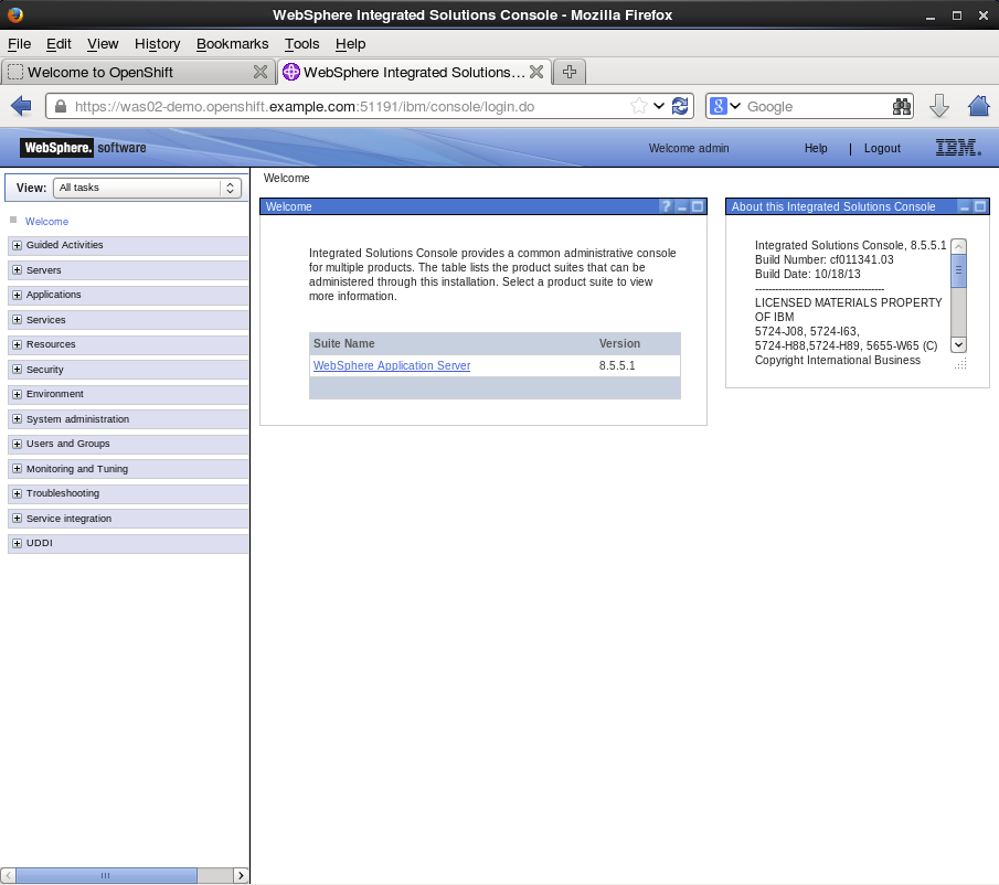 6. Demo of WebSphere Admin Console
