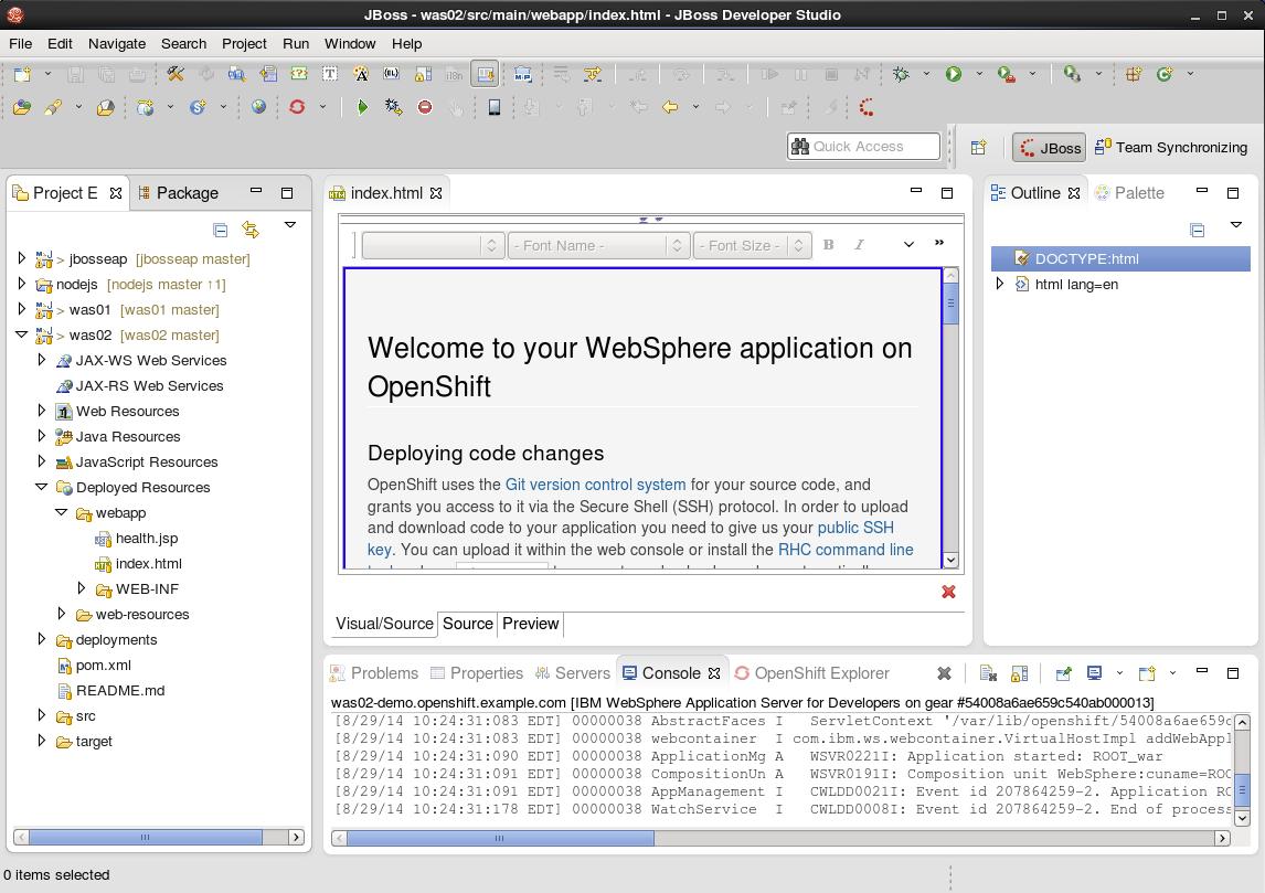 IBM WebSphere Application Server on OpenShift V2 Tutorial