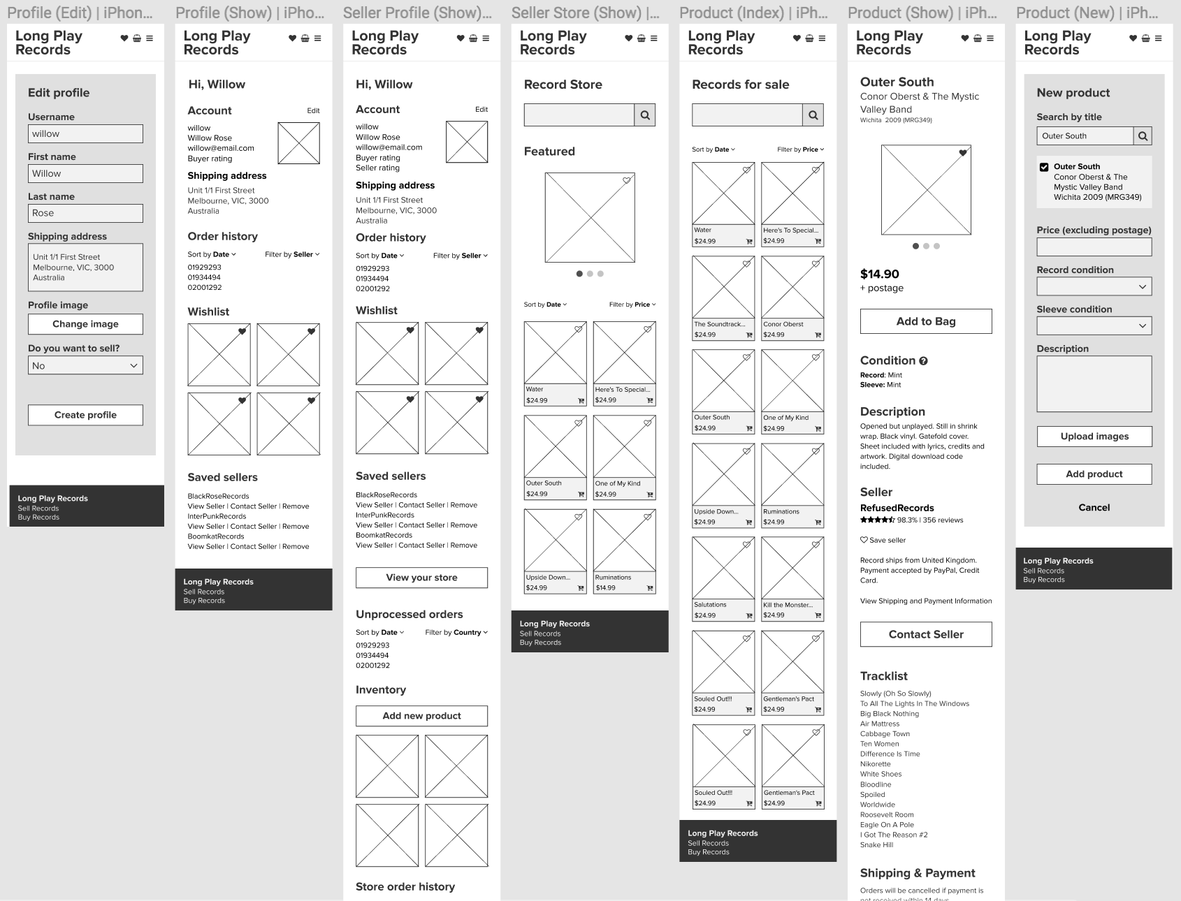Mobile wireframe sample