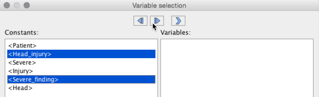 select some concept names as variables