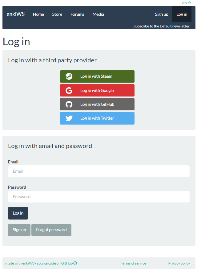 Registration page on demo enkiWS site, showing OAuth and email login options