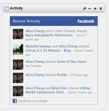 Facebook Recent Activity in a Liferay portlet