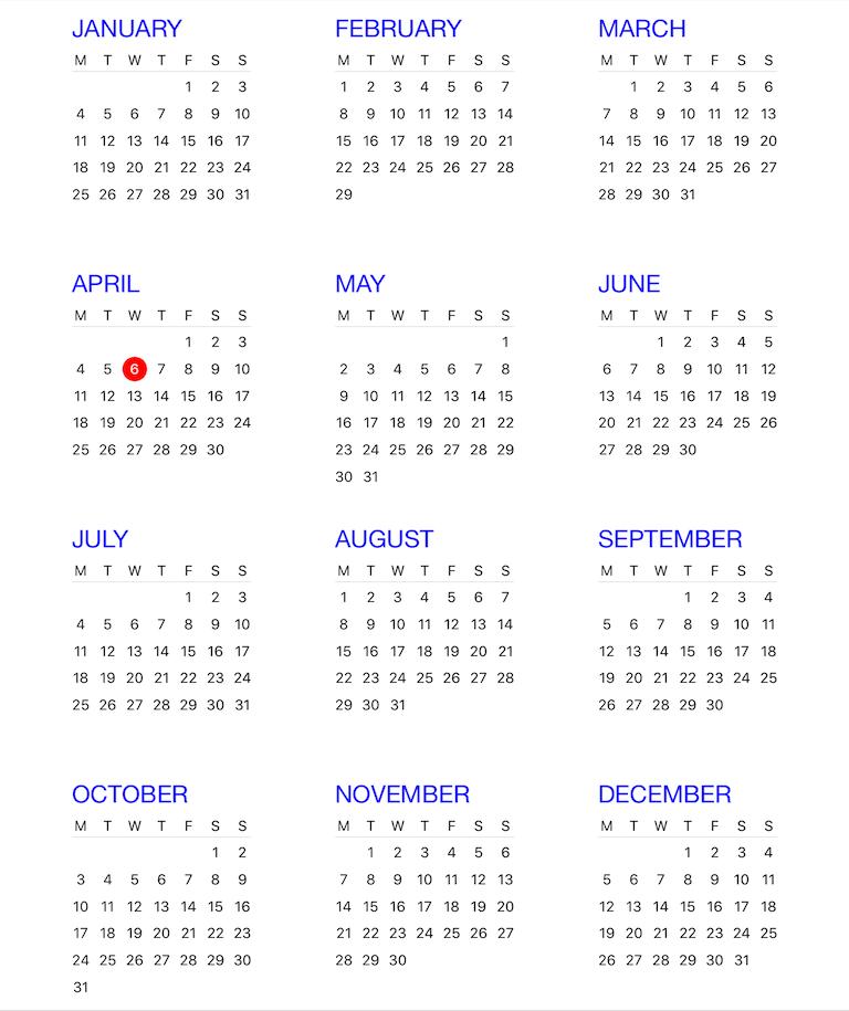 Year Calendar View