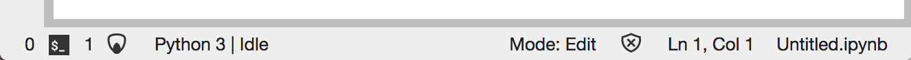 A screenshot of the updated JupyterLab status bar.