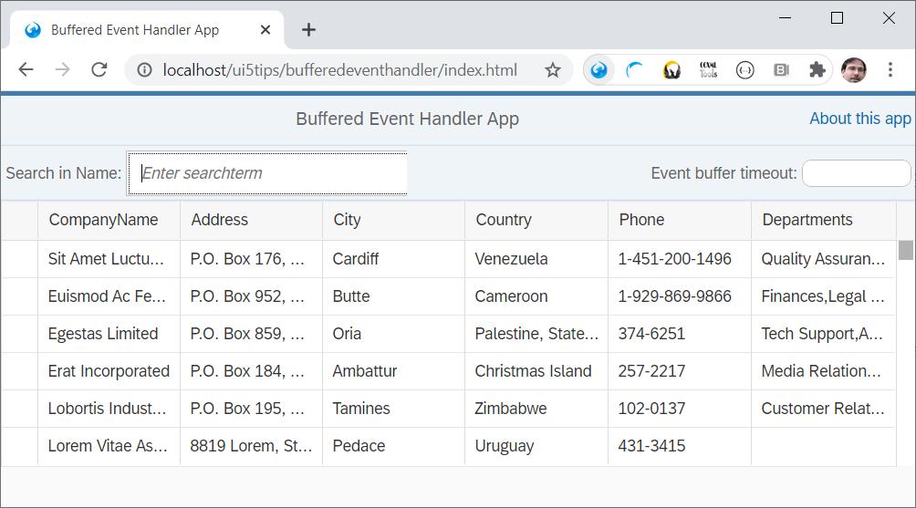 Screenshot of the BufferedEventHandler sample app.