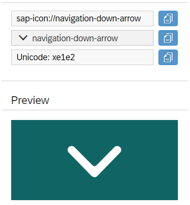 UI5 Down arrow icon