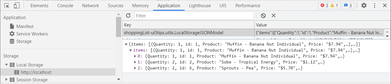 Screenshot of the Shopping List sample application to illustrate the local storage model.