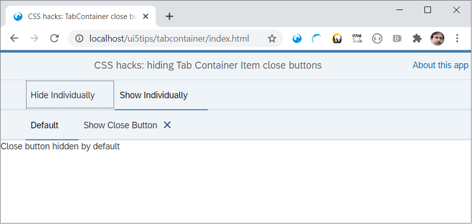 Hiding the close buttons on a sap.m.TabContainer by applying the noCloseButtons css class.