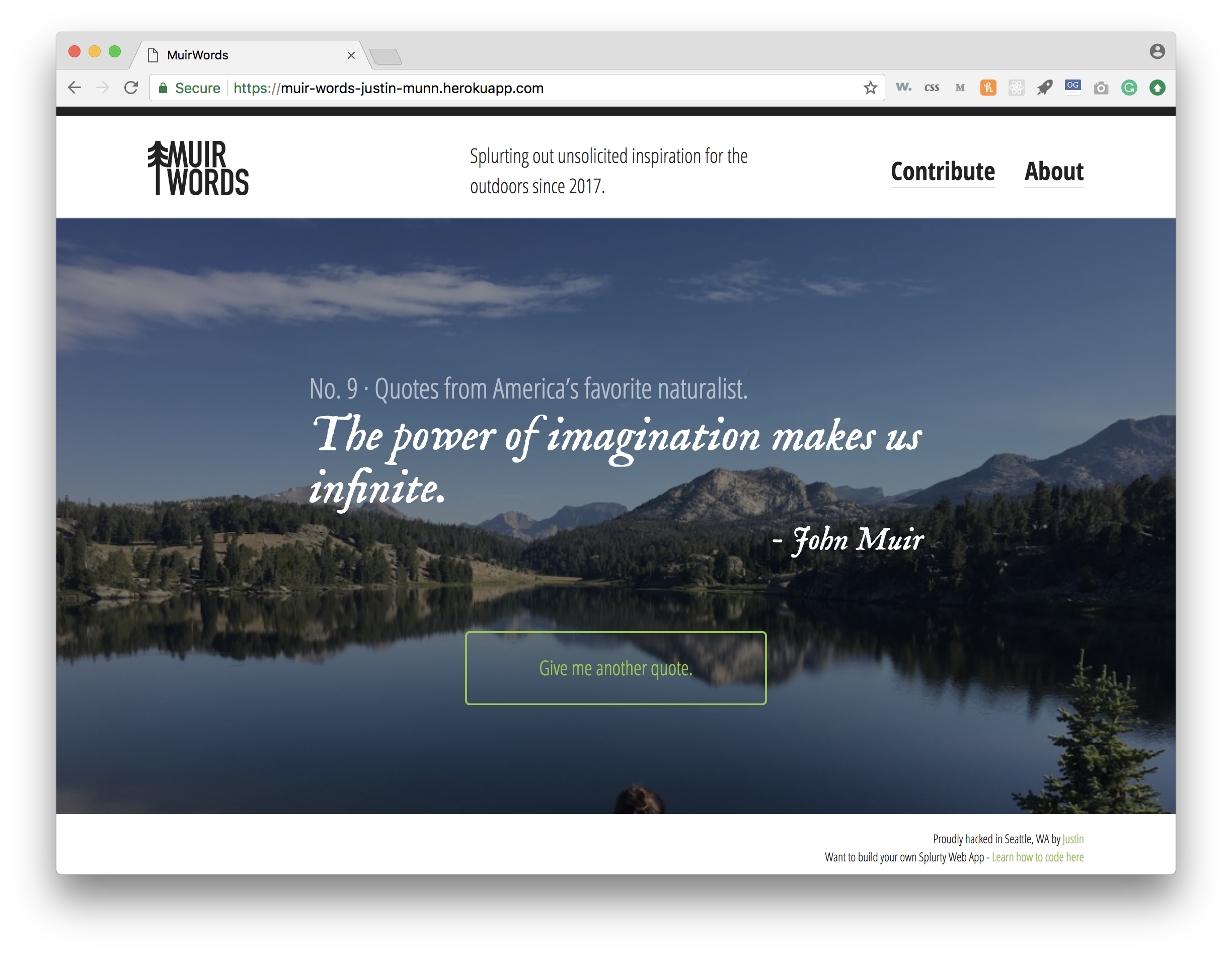 Github Jwmunnmuir Words A John Muir Quote Generator Made With