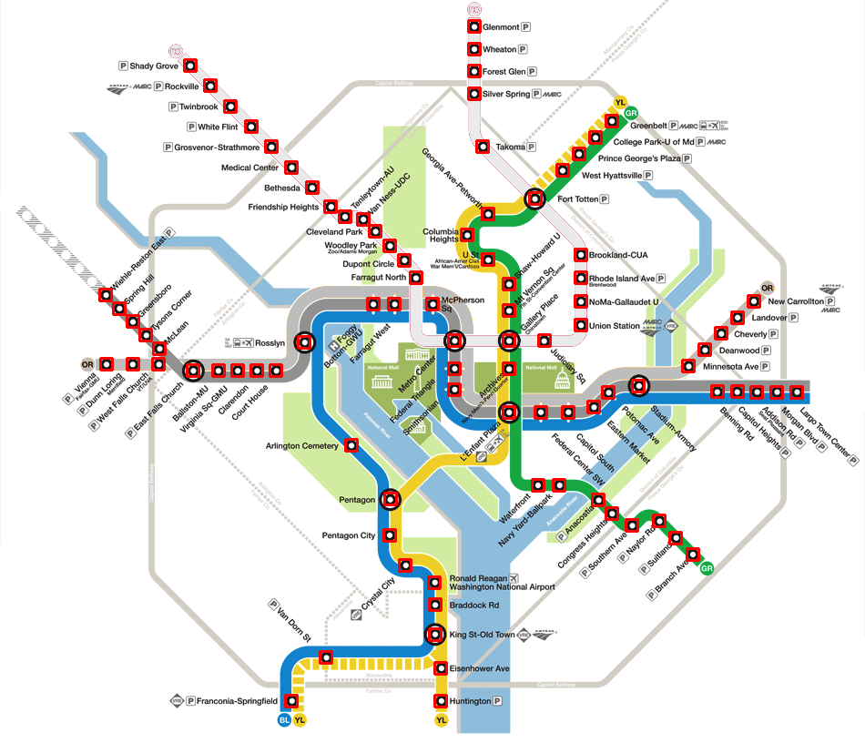 Washington, D.C. Metro Map with Template Matches Illustrated