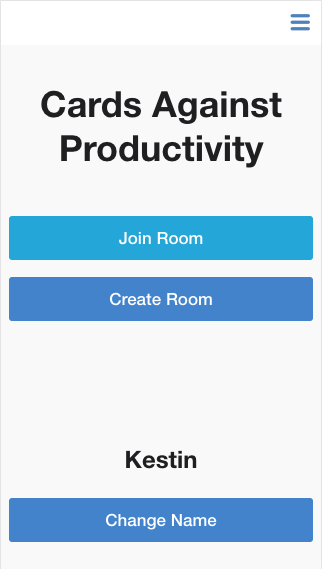 Cards Against Productivity Home Screen