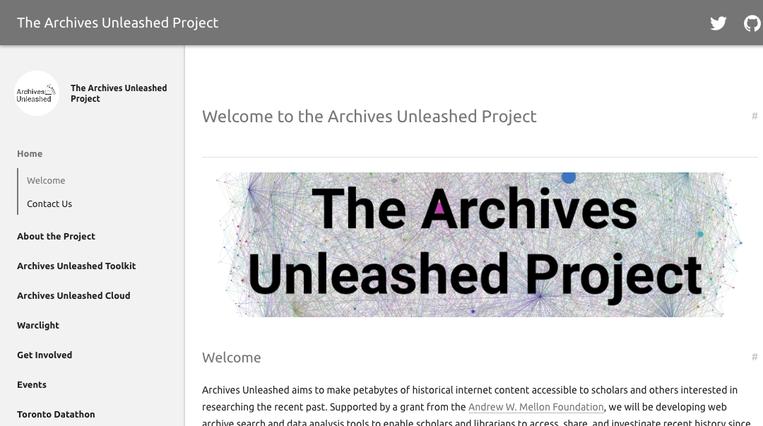 Screenshot of the archives unleashed website