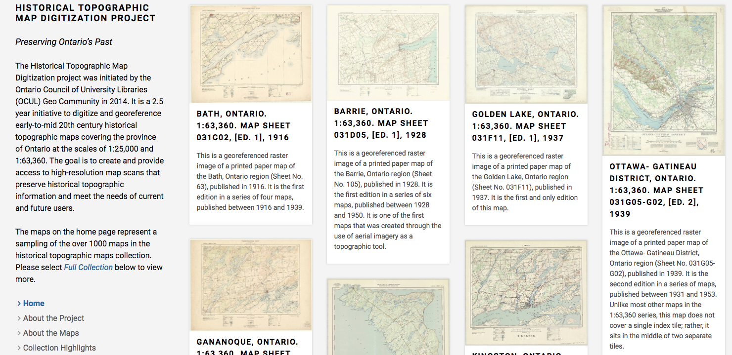 Screenshot of the topographic maps website