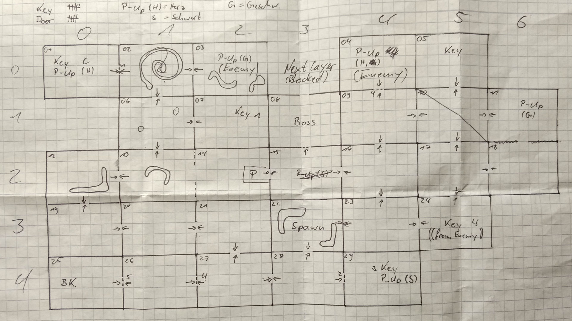 an early hand drawn sketch of the levels