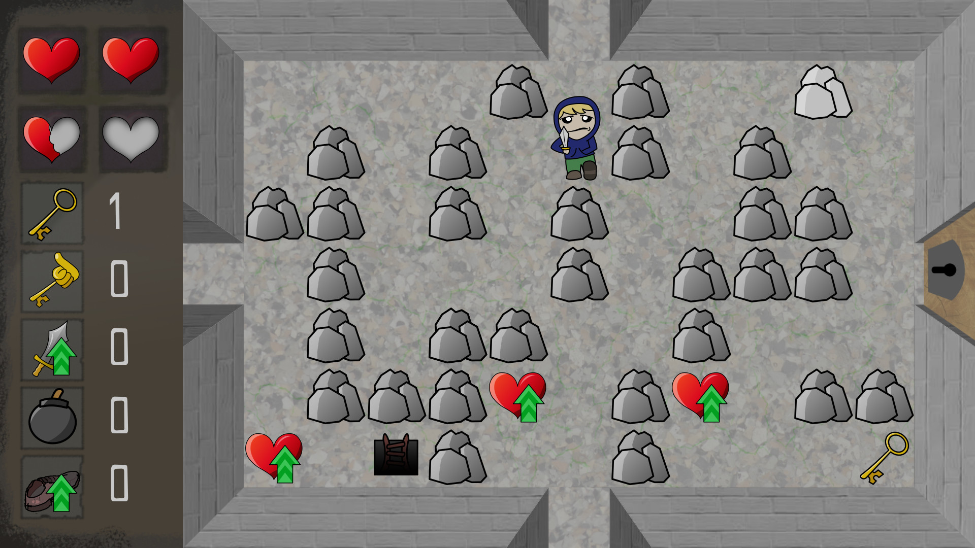 A screenshot of the first room in the game