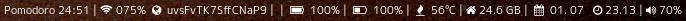 Pomodoro 24:45 |  075%    uvsFvTK7SffCNaP9 |  |    100% |    100% |    55°C |  24.6 GB |    01. 07    23.19 |  70%