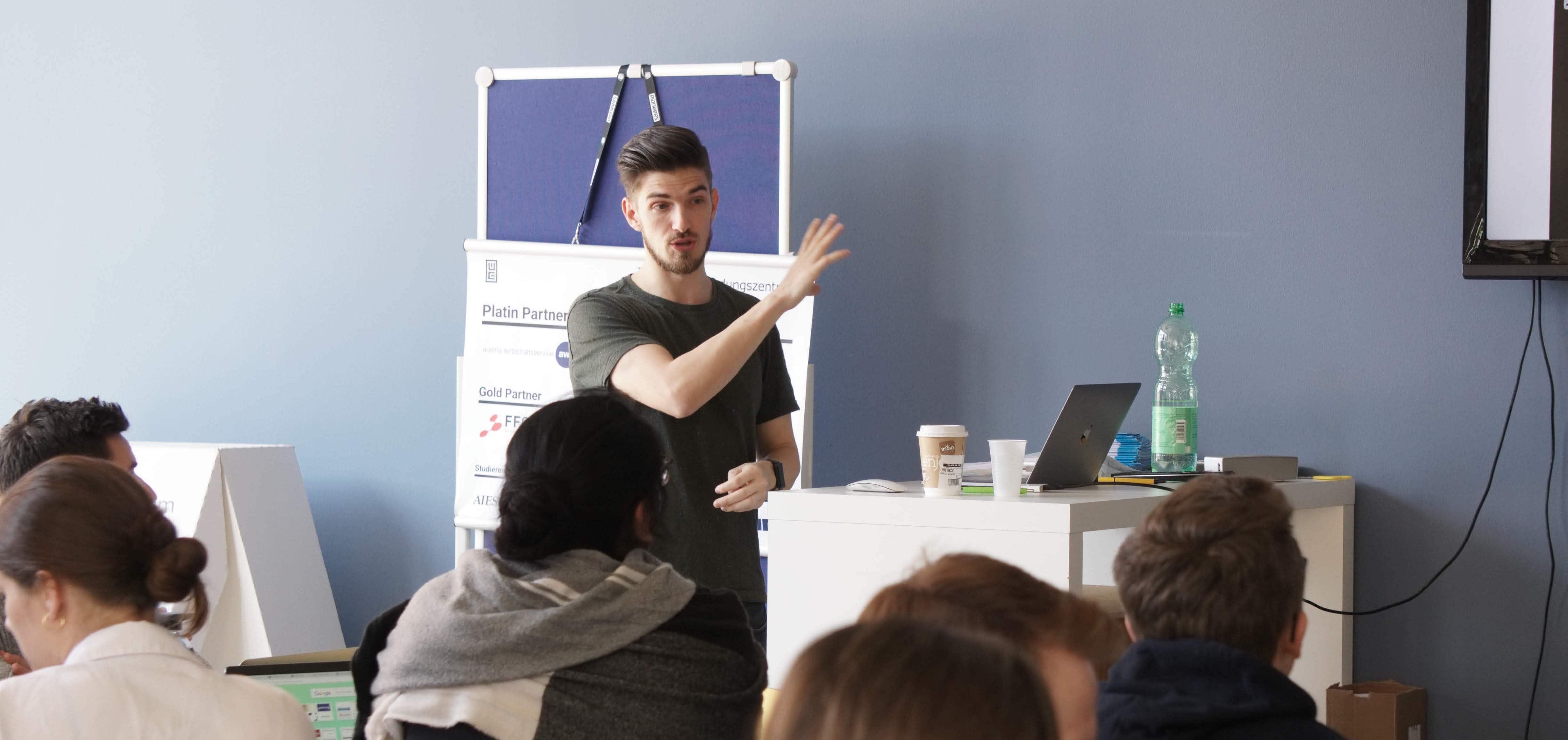 Karl teaching students