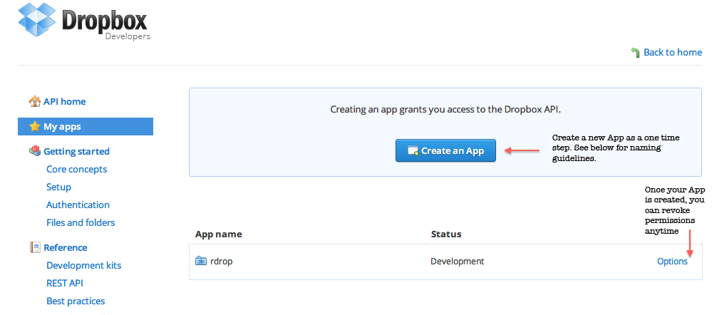 Create an app for your personal use on Dropbox