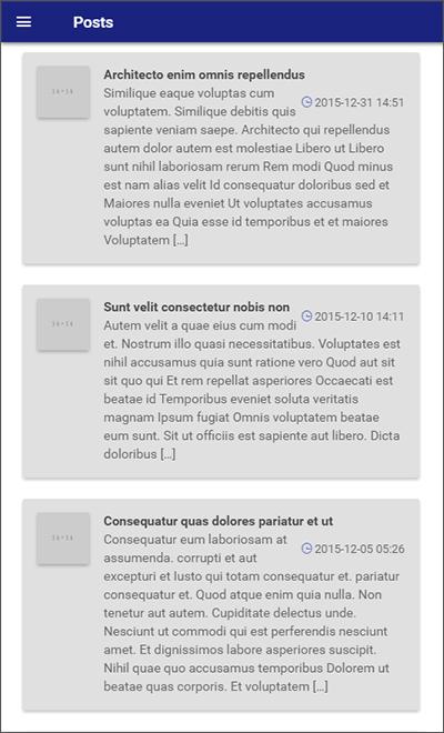 Wordpress ionic material design app screenshot